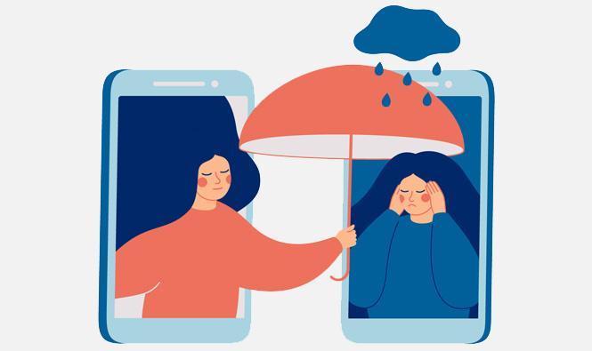 Grafika dwóch kobiet wtelefonach